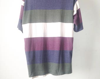 vintage BLOCK STRIPE 90s crew long sleeve COTTON shirt