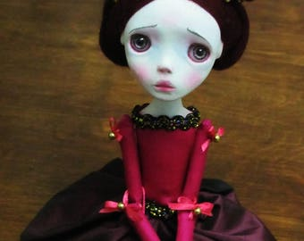 Handmade Collectible Unique -OOAK- Clay poseable Art doll -Ilona