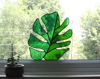 Split Leaf Philodendron Stained Glass Hanging Handmade Shaped Green Suncatcher Modern House Plant Tropical