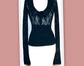 1990s Betsey Johnson Metallic Black Crochet Cardigan Sweater