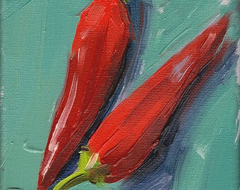 red peppers kitchen art oil painting giclee print - 5x7 - Red Hot Chili Peppers 2 - Aqua Collection