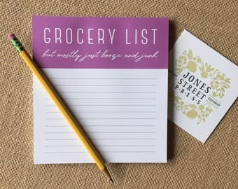 Grocery List Notepad - Booze and Junk - Witty, Funny, and Honest gift for her, gift for mom