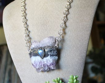 Amethyst & Spirit Quartz Necklace w/ Moonstone, Amethyst Jewelry, Crystal Necklace, Boho Jewelry Gypsy Jewelry Cactus Quartz Wiccan Necklace