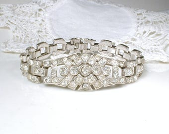 TRIFARI KTF Art Deco Bracelet, Pave Rhinestone Wide Link Bridal Bracelet,Vintage Wedding Silver Paste 1920s Gatsby Flapper Jewelry Statement