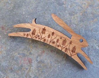 Small* Etched Cherry Wood Leaping Hare Brooch