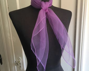 Vintage Sheer Nylon Scarf, Purple Chiffon Scarf, Lavender, 50's 60's Style, Rockabilly, Mad Men, Head Scarf, Neck Scarf, Hair Scarf
