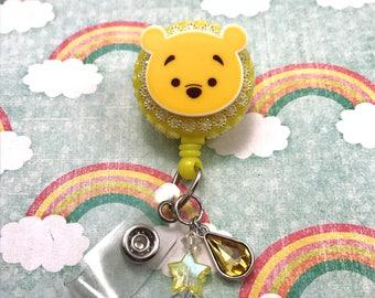Winnie The Pooh Bear Disney Kawaii Face Dangle Beaded Charm Badge Reel Retractable Disney ID Holder Nurse CNA RN Technician Pediatric Nicu