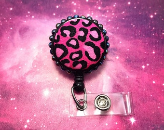 Pink Leopard Pattern Pin Up Girl Decoden Kawaii Fairy Kei Goth Girly Badge Reel Retractable ID Holder Nurse CNA RN Technician Medical