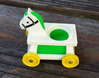 Riding Horse Cart, Fisher Price Little People White Green Vintage Toy, #656 Little Riders Set
