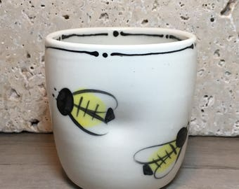 Bee Cup - Hand Painted Porcelain Cup with Bees - Ceramic Cup with Bees - Porcelain Cup - Handleless Mug - Bee Keeper Cup - Cocktail Cup