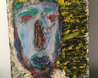 Outsider Art - Naive - Primitive - Art Brut - RONGO art - painting on cabinet Door - Heavily Textured
