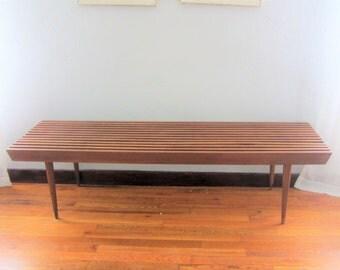 Mid Century Danish Modern Slat Bench / Table