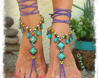 Turquoise LOVE BAREFOOT Sandals Boho Festival sandals Native Cowgirl PURPLE Gypsy Wedding foot wear Crochet foot jewelry Summer Fun GPyoga