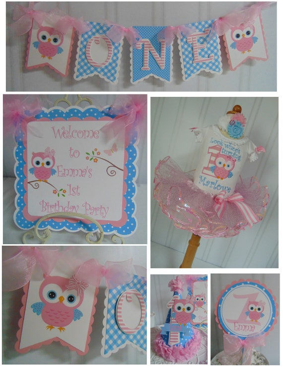 Owl 1st Birthday Petite Party Package