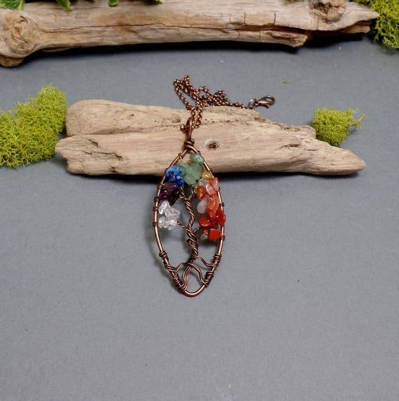Chakra Tree of Life Necklace - Seven Chakra Necklace - Gemstone Necklace - Chakra Pendant - Copper Necklace - Rainbow Necklace
