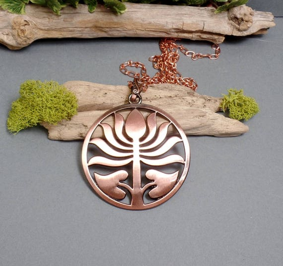 Large Copper Lotus Necklace - Lotus Flower Necklace - Copper Medallion Necklace - Lotus Pendant Necklace - Free US Shipping