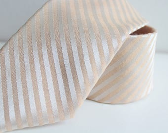 Blush and Gold Striped Satin Neck Tie