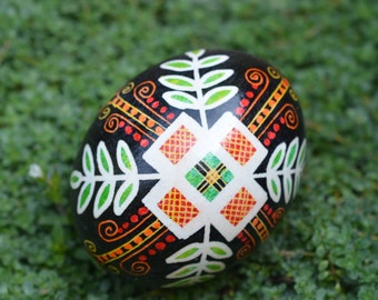 Black Pysanka decorated egg Christian symbol cross hand painted gift religious gifts for baptism christening Easter Christmas