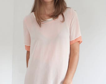 Layered gauzy tee - coral and cream layered top - S