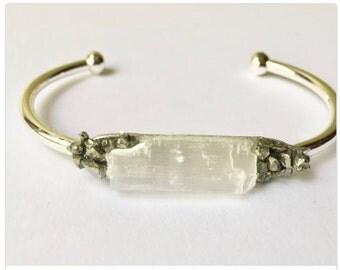 Genuine Selenite Crystal Mineral Gemstone Pyrite Cuff Bracelet Gold Plated or Silver Plated Beautiful Boho Chic Semi Precious Stones Pyrite