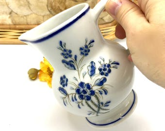 Vintage Small Ceramic Pitcher, Blue & White Small Jug, Hand Painted