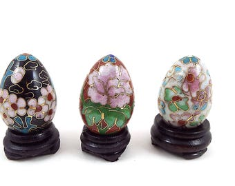 Small Cloisonne Eggs - Enameled Eggs - Collectible Chinese Eggs - Floral Eggs - Decorative Egg Figurines - Set of 3 - Tiny Easter Eggs
