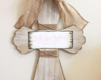 Custom Baptism Cross Every Good and Perfect Gift Comes from Above Wood Wall Hanging Cross Christian Cross Burlap Door Hanging Wood Cross
