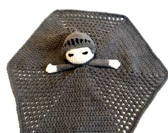 Knight Lovey Crochet Blanket, Gray Baby Blanket, Royal Knight Security Blanket, Fairytale Blanket