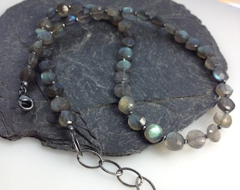 Labradorite and oxidised silver necklace.
