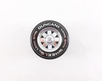 Duncan Wheels Long Spin Yo-Yo Black Tire Shape with Silver Hub