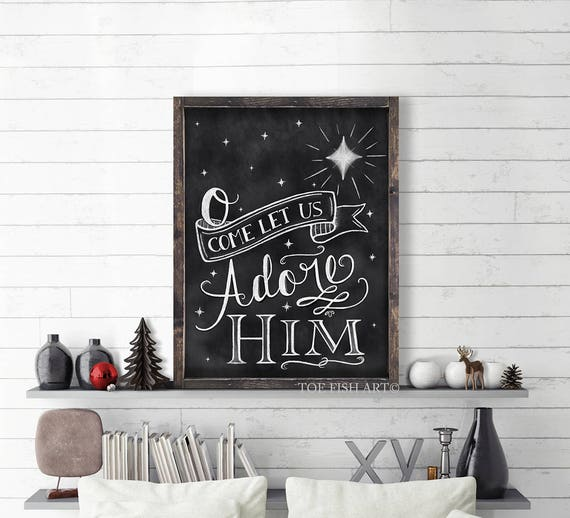 Oh Come Let Us Adore Him Wood Signs Christmas Signs Wood: O Come Let Us Adore Him Christmas Chalkboard Word Art Sign