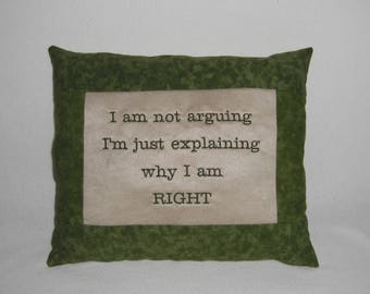 Novelty Suede & Green Cotton Embroidered Handmade Pillow, Decorative Pillow, Accent Pillow, Home Decor, Bedroom Accent, Pillow with Words