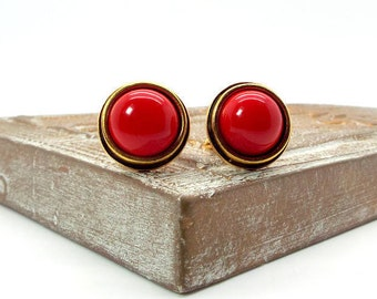 Red South Sea Shell Pearl Cufflinks, Red Pearl Cufflinks, Red Cufflinks