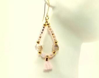 Pink Hoop Earrings, Pink Beaded Hoop Earrings, Pink Tassel Hoop Earrings, Pink Earrings