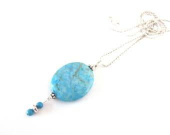 Blue Stone Pendant Necklace - Turquoise Beads - Sterling Silver Beads - .925 Sterling Silver Chain - Oval Agate Pendant - 18-Inch Rope Chain