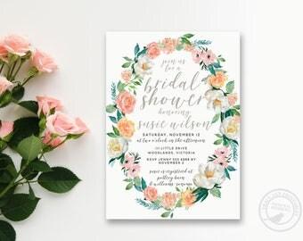 Boho Bridal Shower Invitation  | Rose wedding shower invite | Blush and White Floral Bridal Shower | Floral Wreath 2205