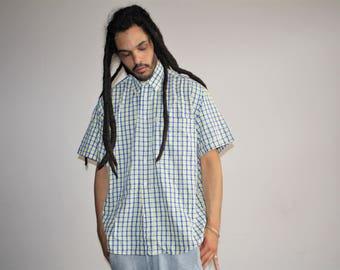 90s Vintage Fila Button Up Short Sleeve Minimalist Hip Hop Dress Shirt - 1990s Fila - 90s Clothing - MV0459