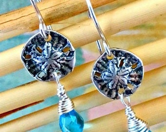 Sterling Sand Dollar with Gemstone Earrings