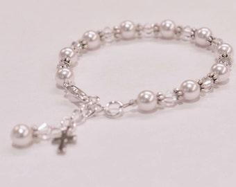 First Communion Bracelet with Cross Swarovski Elements includes Sterling Silver Personalized Initial Charm