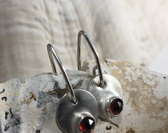Petite Sterling Silver and Garnet Disc Earrings-Crimson Sun