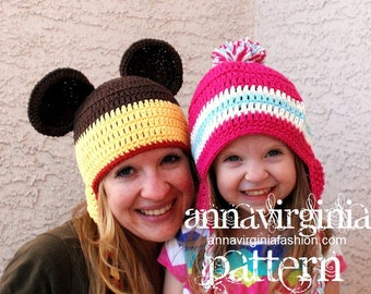 CROCHET PATTERN Peruvian Style Earflap Hat - kid to adult - PDF Crochet Pattern