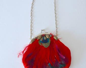 Art Deco Miniature Feather Clutch Handbag Evening Purse French 1930 new w tags