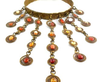 "HUGE 1960s 70s Pal KEPENYES Bronze & Mexican Opals Dog Collar Bib NECKLACE - 7-1/2"" Drop!!"