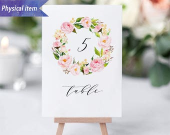 Printed Pink Peony Floral Wreath Table Number Cards, Physical item, Fast shipping, 4x6'' 5x7'', Rustic Wedding Reception Table Number Sign