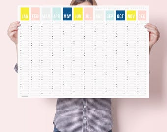 2018 Colour Year Wall Calendar - Year Planner - Wall Planner - Fitness Planner - Weekly Planner