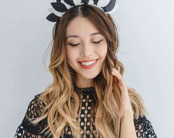 Black and white Leather leaf Fascinator // derby day leather leaf crown headband / leather fascinator / leather races fascinator headpiece