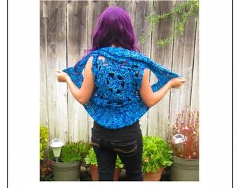 Flower Pixie Vest Crochet Pattern - Festival Hippie Bohemian Floral Crochet Vest Pattern - PDF CROCHET PATTERN
