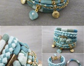 Boho Bracelet Set, Seafoam Amazonite Bracelet, Bohemian Jewelry, Blue Green Gypsy Bracelet, Shell Charm Bracelet