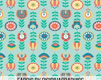 Swedish Folk Art Floral Fabric by the Yard - Colorful Flowers Folkart Print in Yard & Fat Quarter