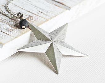Large Rustic Silver Star Pendant Necklace on Antiqued Silver Plated Chain